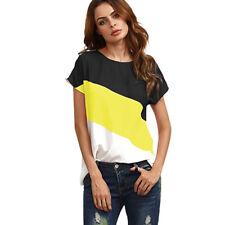 Women Summer Short Sleeve Blouse T Shirt Ladies Loose Casual Chiffon Tunic Tops