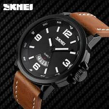 Skmei Mens Watch Brown Genuine Leather Strap Date Display Window SK9115BLA