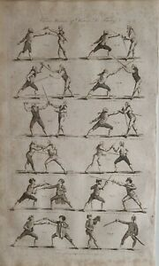 c1797 DATED ANTIQUE PRINT VARIOUS POSITIONS OF DISARMS FENCING