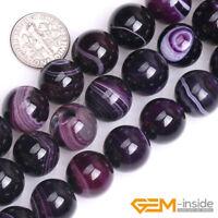 "Purple Stripe Agate Onyx Gemstone Round Beads For Jewelry Making 15""6mm 8mm 10mm"