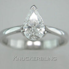 Pear Engagement Solitaire Not Enhanced Fine Diamond Rings