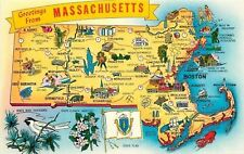 Massachusetts Map Fitchburg to Stowbridge~Paper Mills~Lenox to Lynn~1960s