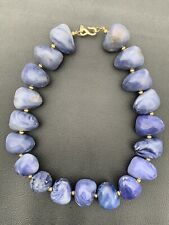 """Vintage Kenneth Lane Chunky Blue White Faux Stone Gold Beaded Necklace. 19"""""""