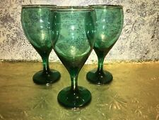 "3 deep evergreen green water wine glasses goblets gold trim CHRISTmas 7"" LIBBEY"