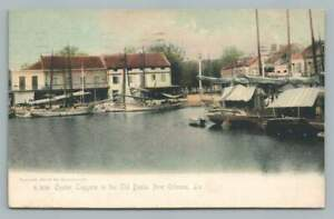 Oyster Luggers Boat Basin NEW ORLEANS Antique Fishing Postcard HJE Levy 1909