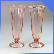 vintage old rare antique Crystal Glass Flower Red 2 Vases