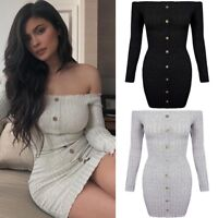 Off Shoulder Button Detail Ribbed Knitted Bodycon Bardot Jumper Party Mini Dress