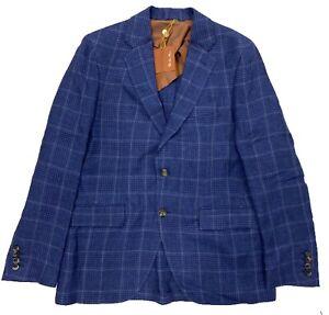 $3,000 Loro Piana Blue Plaid Linen Blazer Size US 42, EU 52 Made in Italy