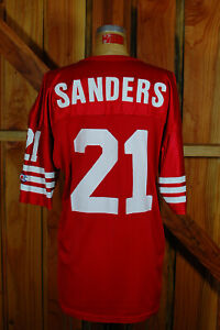 Deon Sanders #21 San Francisco 49ers Red NFL Football Jersey Champion Made USA