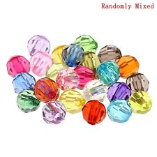 250 Sparkling Rainbow AB Round Faceted Acrylic Crystal Spacer Beads, 6mm Bling