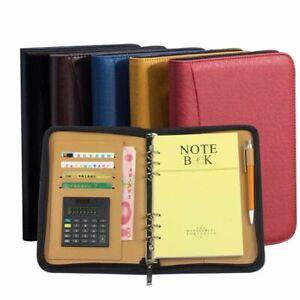 Leather Cover Zipper Spiral Notebook Calculator Daily Planner Office Agenda Book