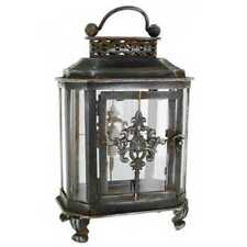 Rusty Iron Lantern with Scroll Embellishments. Amazing Look Chic Home Decor. NEW