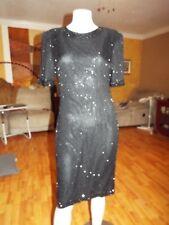 Vintage 1980's Lawrence Kazar Silk Beaded Black Dress Size Large