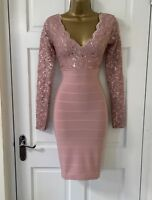 JANE NORMAN Mauve Pink Sequin Lace Plunge Bodycon Party Dress 6 8 10 12 14 16 18