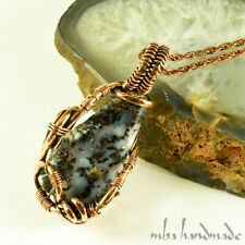 Dendritic Picture Agate Crystal Pendant Copper Wire Wrapped Handmade Jewelry
