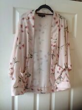 new look Pale Pink Floral kimono jacket size 14