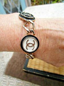 CHANEL Gold Tone CC Logos Vintage Chain Bracelet Paris