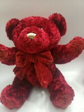 "Dan Dee Red Bear 10"" Plush with ribbon bow red Christmas vintage"