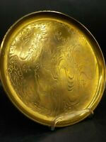 Vtg 70's VP Nelson Rockefeller Collection Mottahedeh Solid Brass Tray Dragon