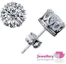 925 Sterling Silver Stud Crown Round Crystal Earrings Jewellery Womens Ladies