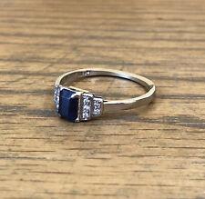 Antique Palladium Ring With Sapphire Diamonds Size R, Circa 1940