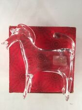 """Viking Clear Glass Horse Made by G. Fox Mid Century 4.75"""" tall Paperweight + Box"""