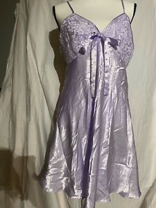 Secret Treasures Satin Chemise Negligee Nightgown Lilac Large