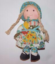 "Vintage Holly Hobbie Rag Doll Fabric Cloth 6"""
