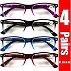 Внешний вид - 4 Pair Rectangular Spring Hinge Power Reading Reader Glasses For Mens Womens 1-3