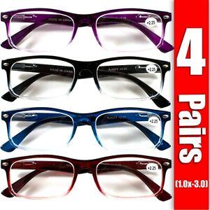4 Pair Rectangular Spring Hinge Power Reading Reader Glasses For Mens Womens 1-3