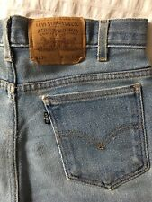 VINTAGE LEVI'S Light Blue Frayed Hem Denim Shorts - Waist 32/UK10