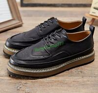 Mens Flats Brogue Cool Creepers Retro Casual Lace Up British Style Oxfords Shoes
