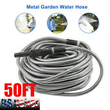 50ft Stainless Steel Metal Garden Hose Water Pipe Flexible Lightweight