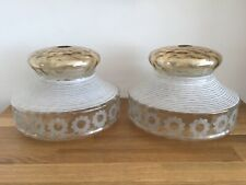 Vintage Retro Glass Light Shades Art Deco Large Pair Frosted Gold Flower Rare