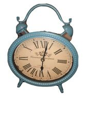 Better Homes Vintage-Style Retro Metal Table Clock Classic Double Bell Blue