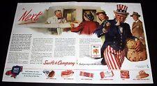 1945 OLD MAGAZINE PRINT AD, SWIFT QUALITY FOODS, FOOD PURVEYOR, UNCLE SAM ART!