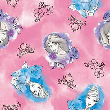 Disney Princess Toss Pink Jasmine and Cinderella 100% Cotton Sold by The Yard