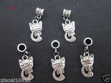 5PCS Tibetan Silver Cute Cat Charms Dangle Beads Pendants Jewelry Charms