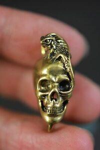 Unique Chinese Copper * Skull & Lizard *Amulet Pendant D39
