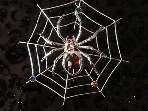 SPIDER ON WEB SWAROVSKI (R) CRYSTAL SILVER PLATED DECORATION ORNAMENT FIGURINE