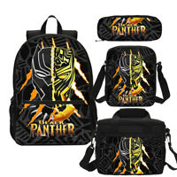 Black Panther T'Challa Backpack Marvel Superhero School Bag Set Custom Gift Lot