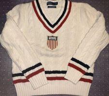 Vtg Cable Men Polo Ralph Lauren Rugby Crest Sweater Cashmere RLPC 1934 Sz L RARE