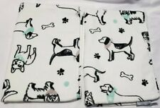 CASABA Set Of 2 Cotton Multi Dogs Printed Hand Towels Set White/Black/ Aqua NWT
