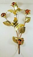 VINTAGE COPPER ROSE & BUTTERFLIES SCONCE BY HOME INTERIORS HOMCO, CANDLEHOLDER