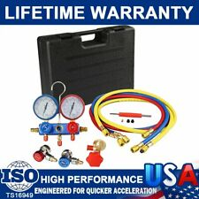 """A/C AC Manifold Gauge Set R410a R22 R134a With Hoses Coupler Adapters+ 1/2"""" ACME"""