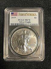 New listing Pcgs Ms70 First Strike 2019 Silver American Eagle Dollar $1 Us Flag Label 1 oz *