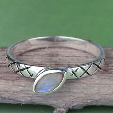 Rainbow moonstone gemstone ring 925 solid sterling silver women jewelry US Size