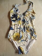 ladies BE CREATIVE 1 PIECE SWIMSUIT halter IVORY ROSES lined NICE size 12 large