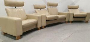 Ekornes stressless Leather 2 seater sofa recliner & 2 x recliner chairs 230221