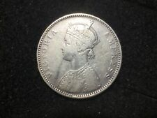 1879 BRITISH INDIA 1 RUPEE DOT Queen Victoria Silver Coin ~ Higher Grade NR ~490
